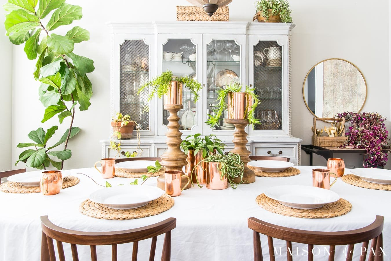 Spring Table With Copper Succulents And Hanging Plants Maison De Pax