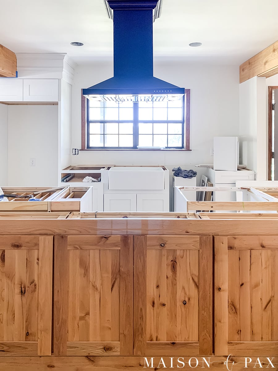black island hood over large island kitchen renovation | Maison de Pax