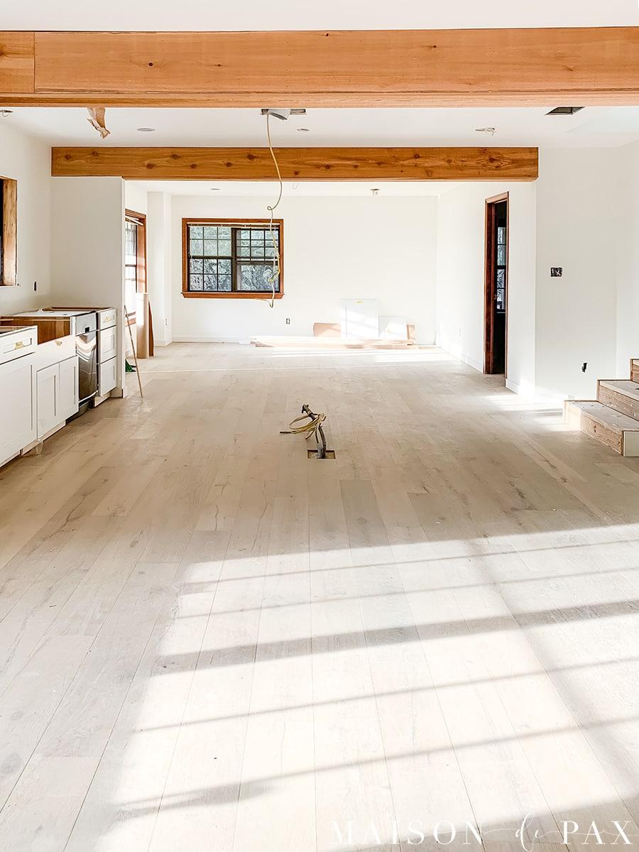 open kitchen renovation with rustic cedar beams   Maison de Pax