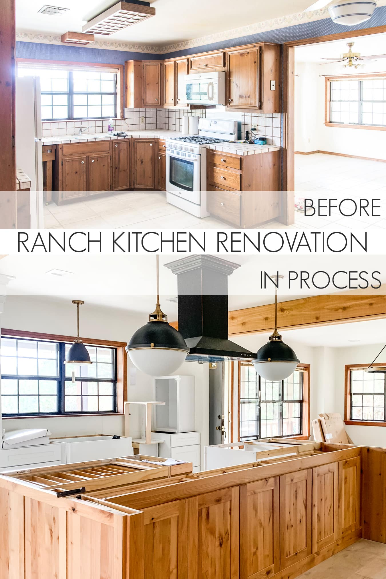 before and after of a little ranch kitchen makeover | Maison de Pax