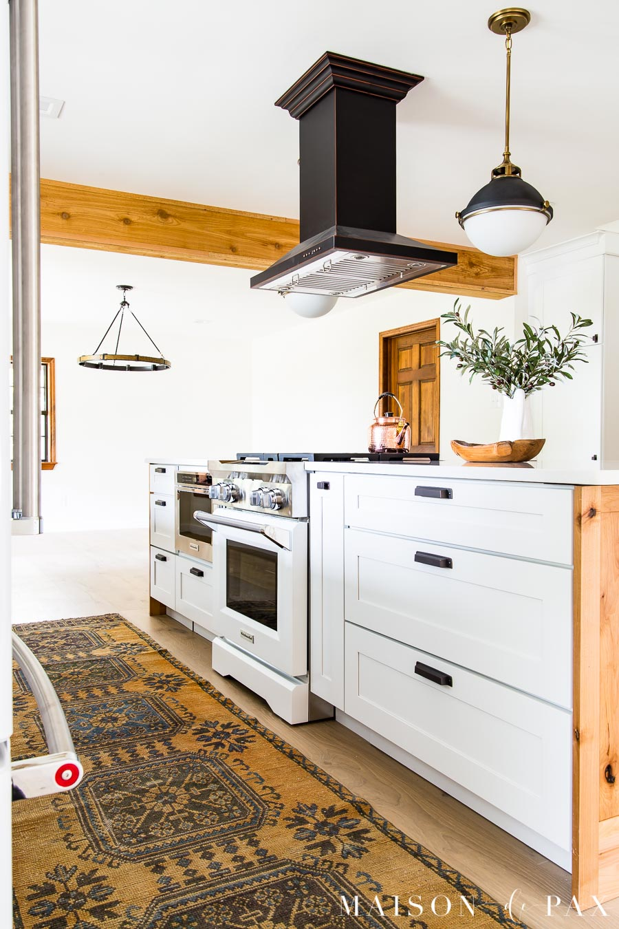 white kitchenaid appliances in an open concept modern farmhouse kitchen | Maison de Pax