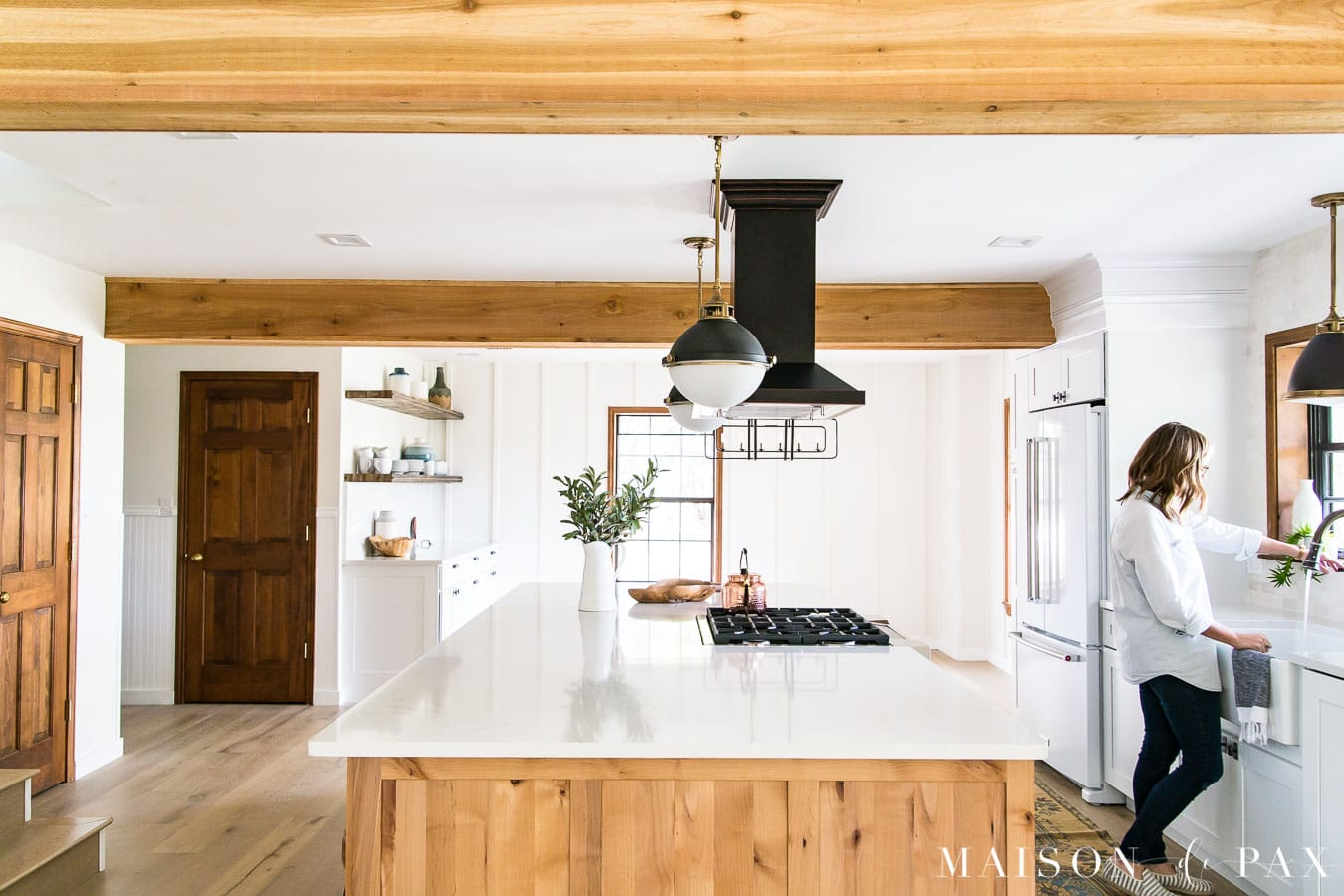 big light wood island in open concept kitchen | Maison de Pax