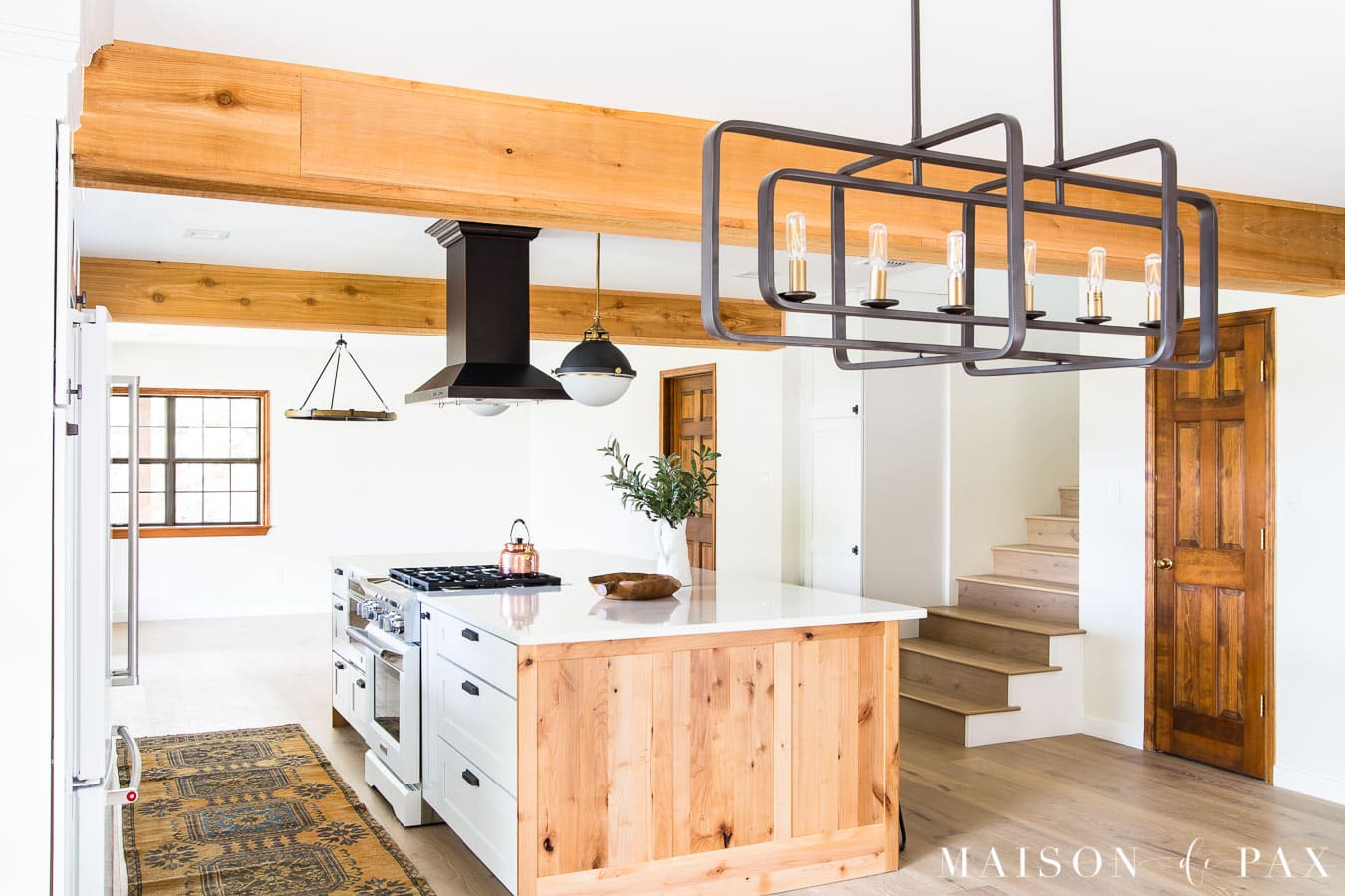 modern industrial chandelier and lighting in modern farmhouse kitchen | Maison de Pax