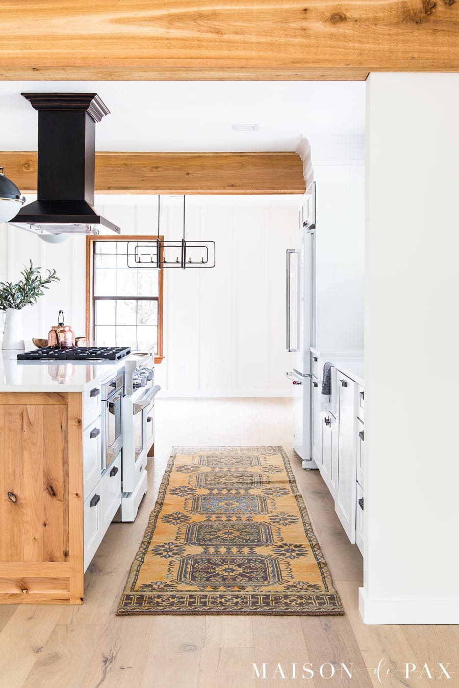 vintage runner in kitchen with big island | Maison de Pax