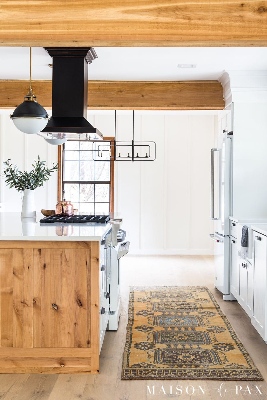 open concept modern farmhouse kitchen with vintage runner | Maison de Pax