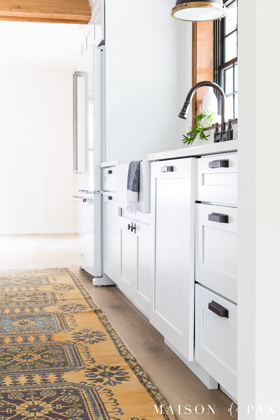 kitchenain panel ready dishwasher in modern farmhouse kitchen | Maison de Pax