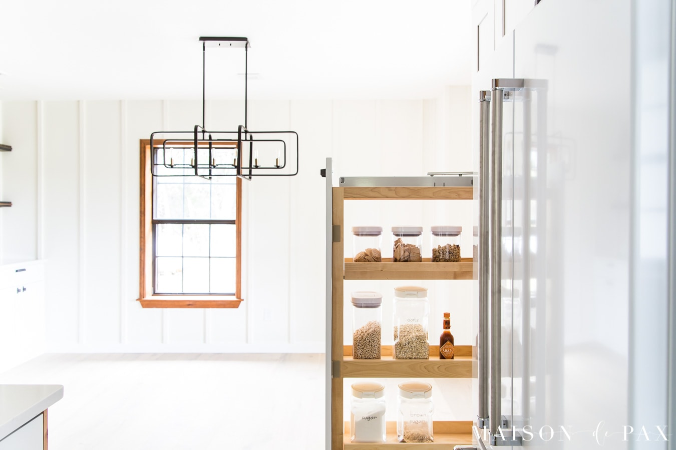 organized pantry pull out drawer shelves | Maison de Pax