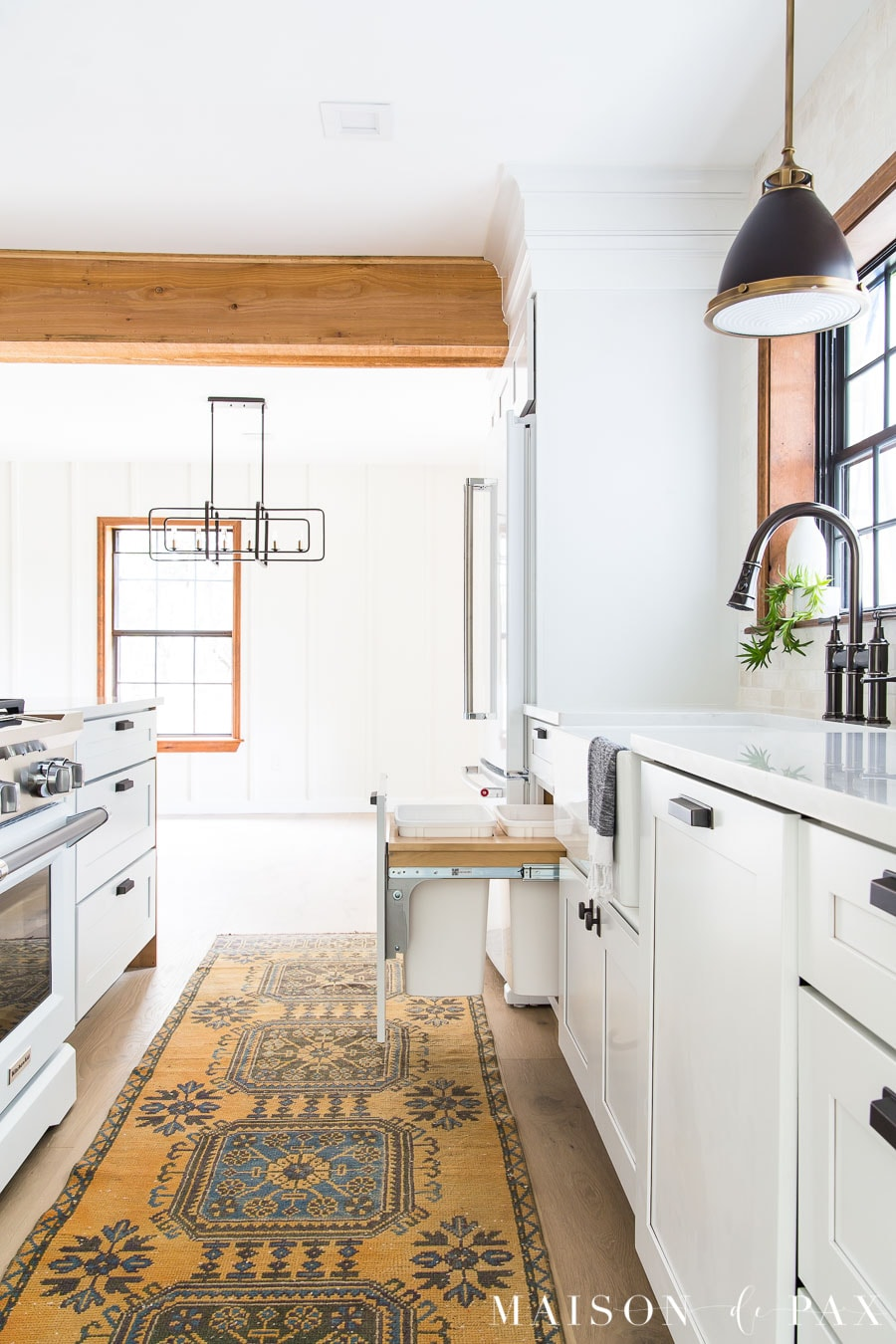 double trash pull out kitchen cabinets modern farmhouse | Maison de Pax