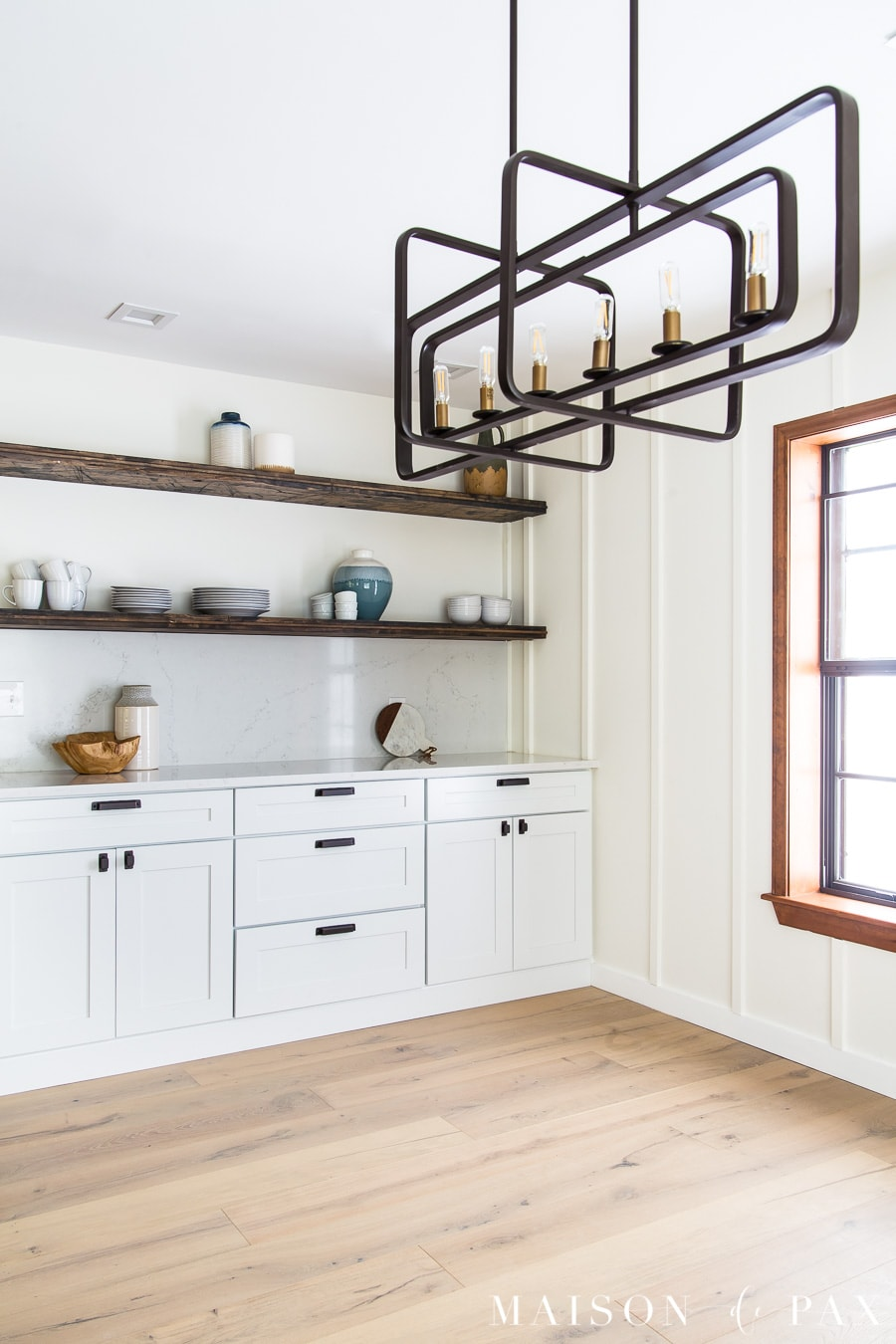 open shelves above kitchen cabinets | Maison de Pax
