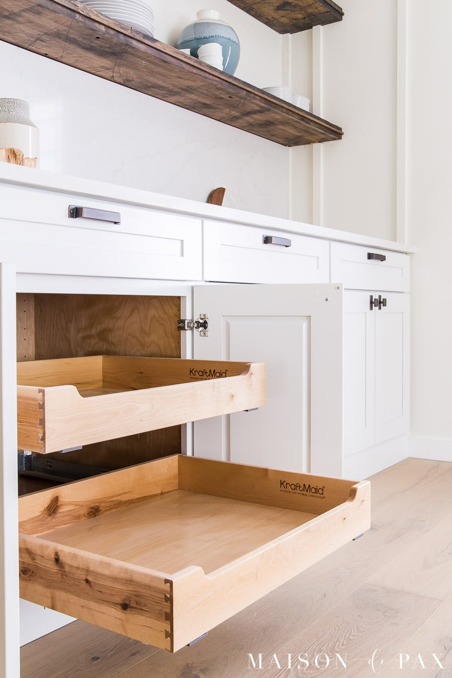 roll out shelves in kitchen cabinets | Maison de Pax