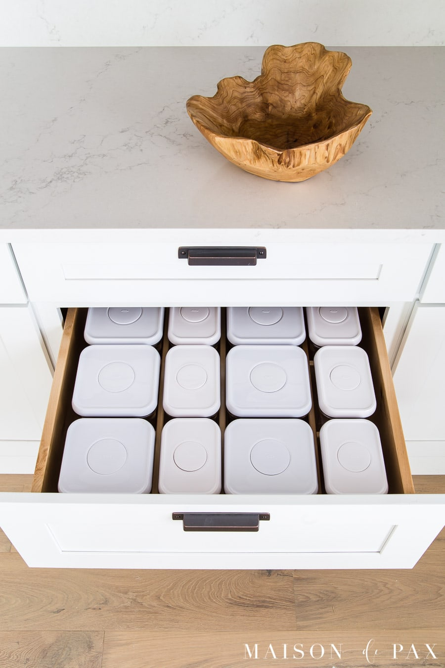 oxo canister organizer in kitchen drawer | Maison de Pax