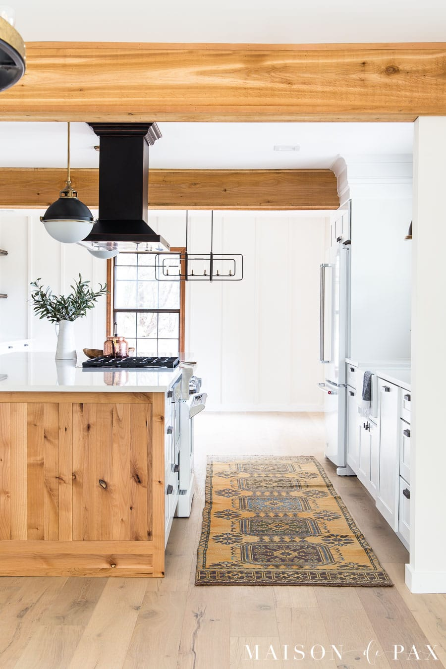 modern farmhouse kitchen with rustic beams | maison de pax