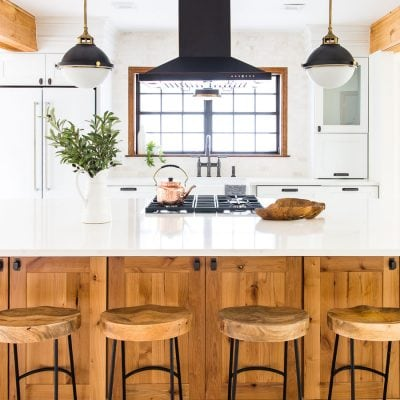modern farmhouse kitchen with black, white, and wood | Maison de Pax