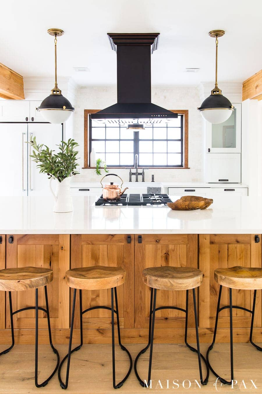 Modern farmhouse kitchen with black white and wood maison de pax