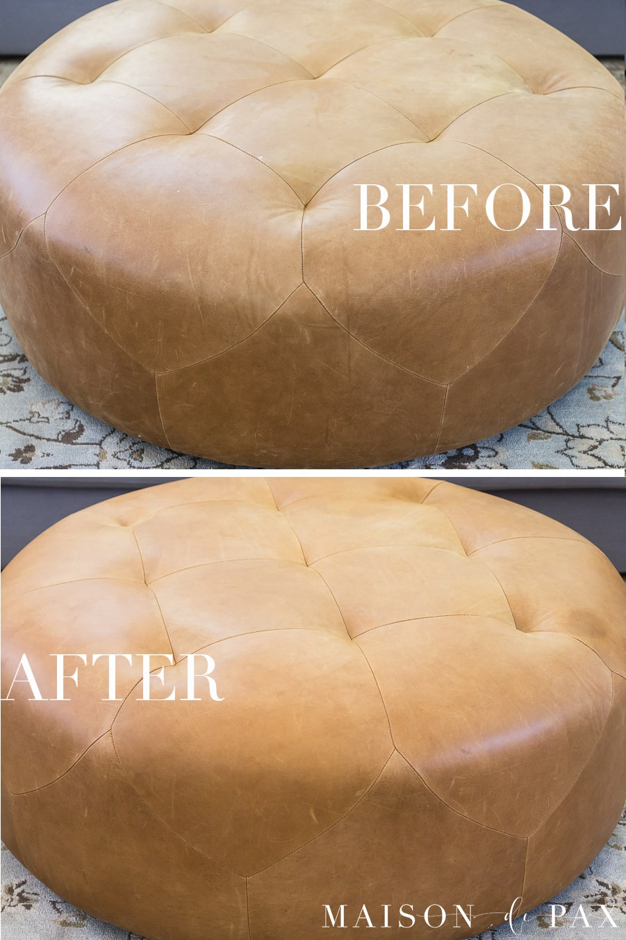 before and after leather furniture cleaning | Maison de Pax