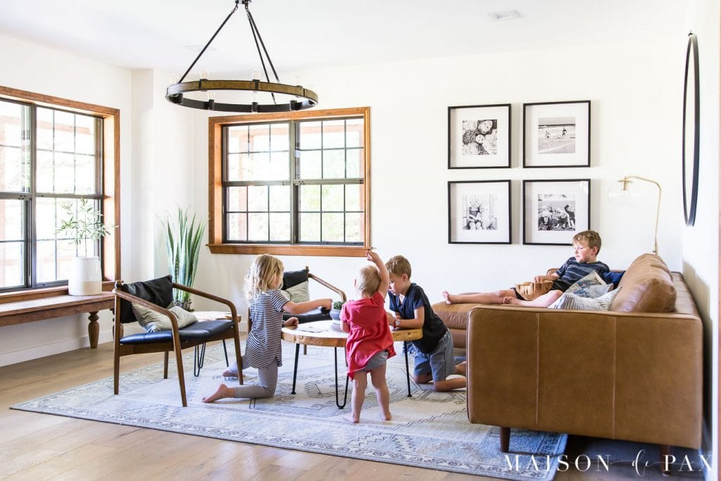 kid friendly leather living room furniture | Maison de Pax