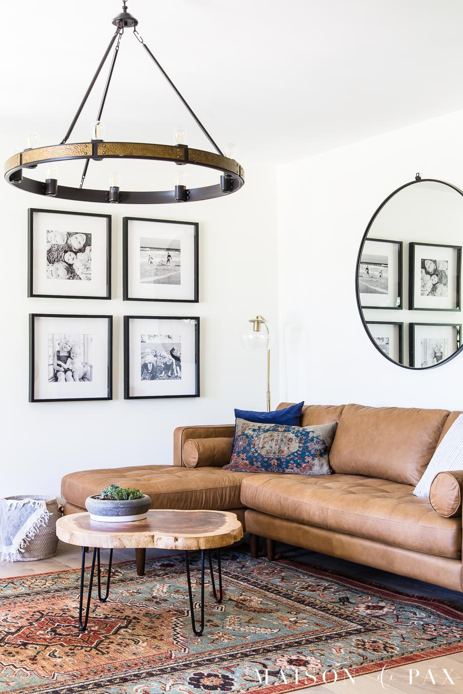 mid century modern living room with hairpin leg coffee table | Maison de Pax