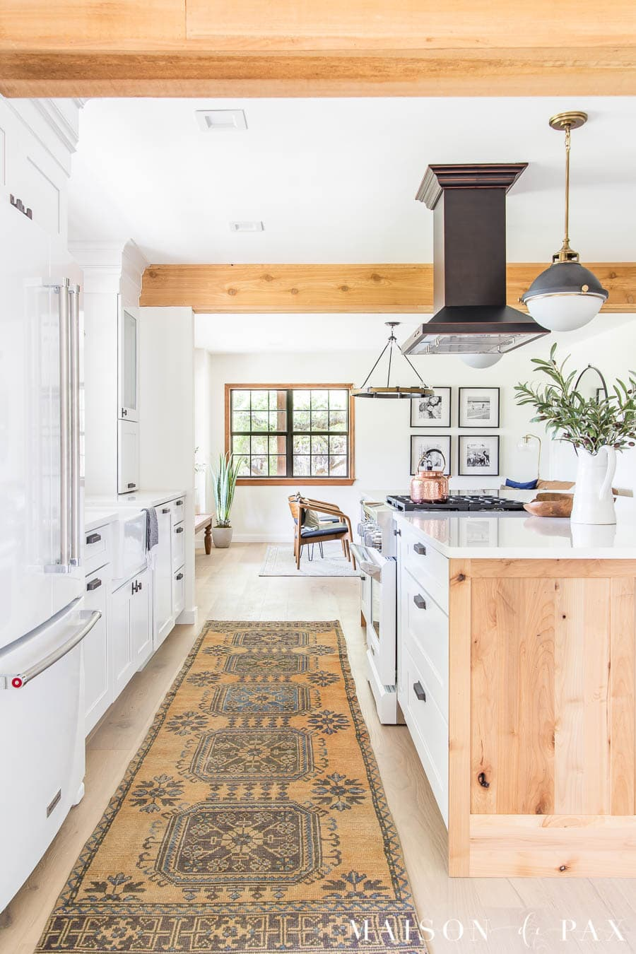 vintage turkish runner in kitchen open to living room | Maison de Pax