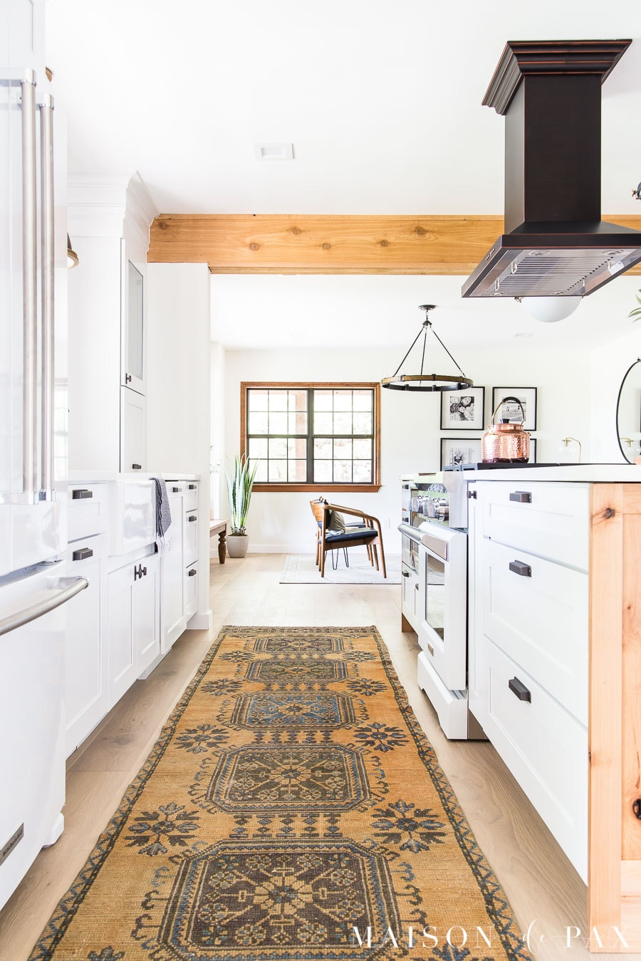 vintage turkish runner in kitchen with big island | Maison de Pax