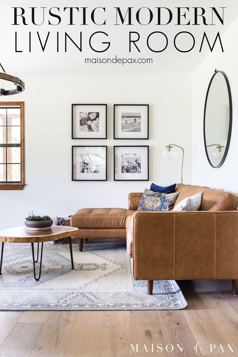 brown leather mid century sofa in rustic modern living room | Maison de Pax