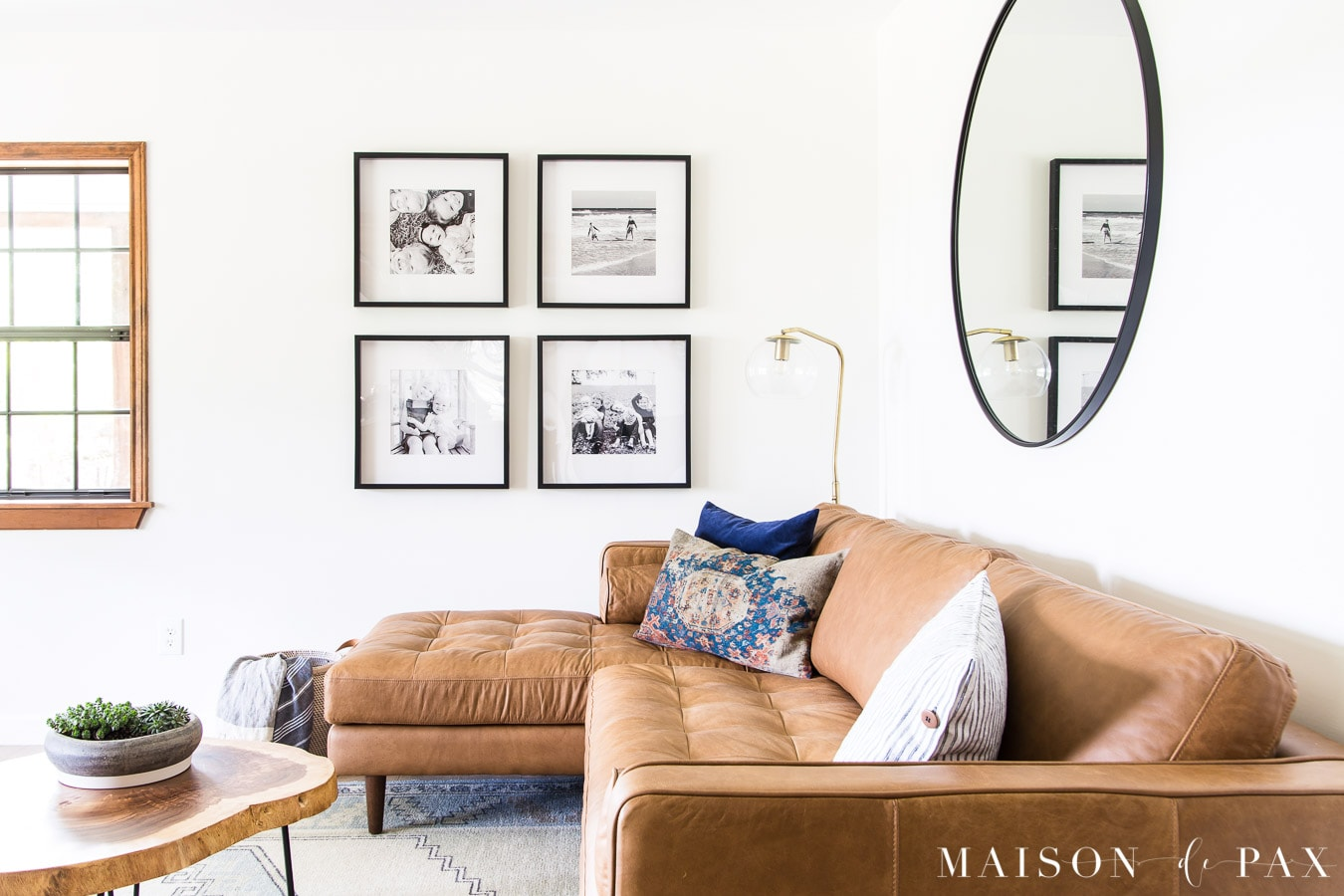 tan leather sectional with mid century modern feel | Maison de Pax