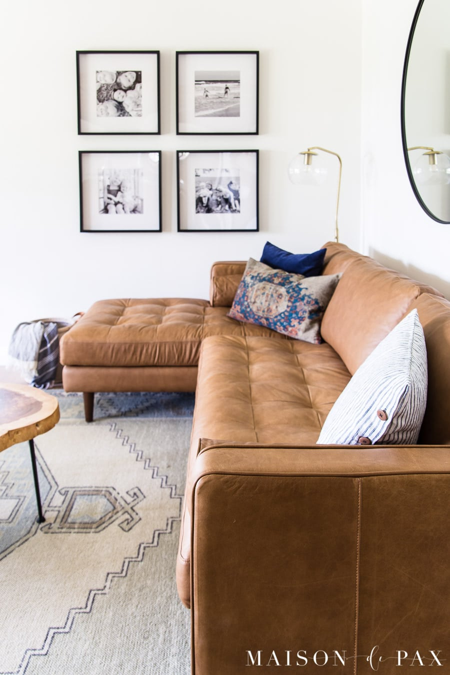 tan leather sofa with mid century modern feel | Maison de Pax