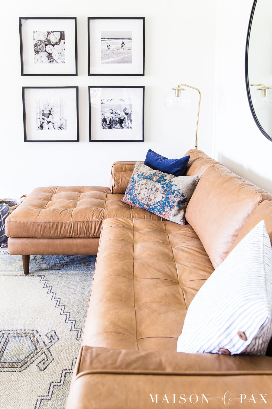 tan leather sectional sofa | Maison de Pax