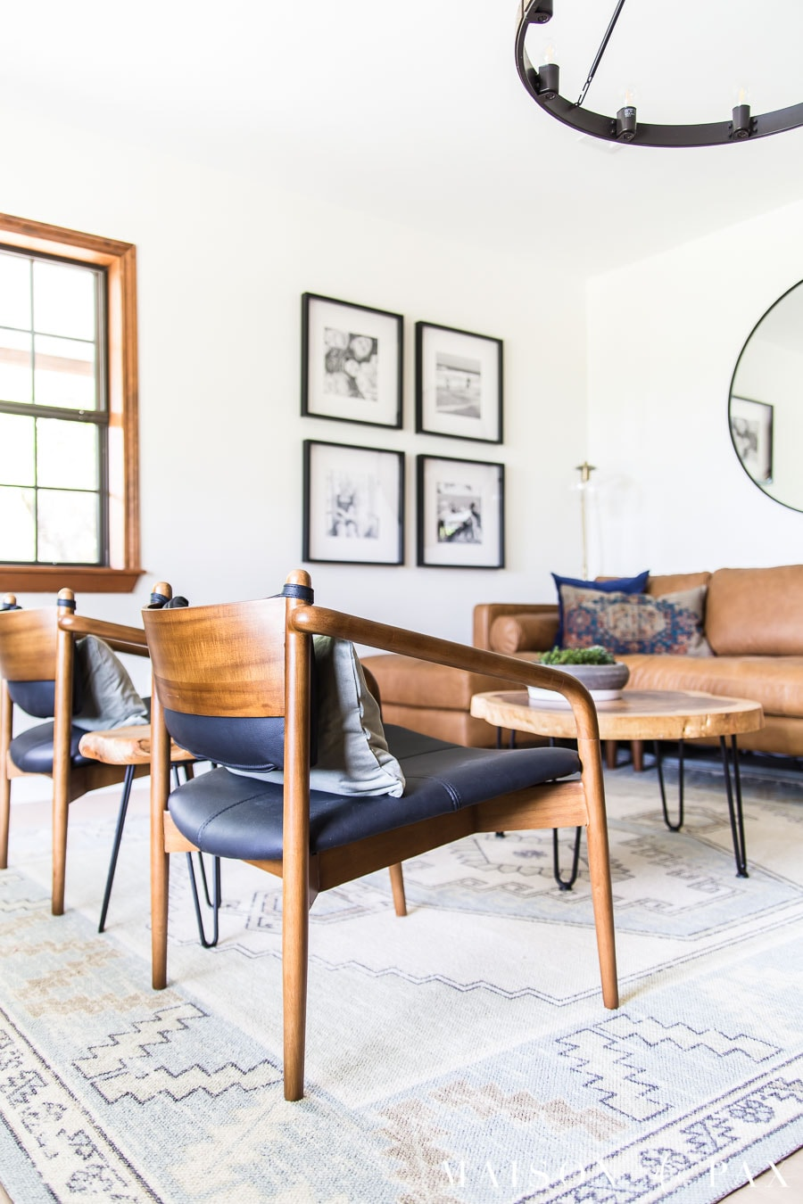 mid century modern wood and leather chairs | Maison de Pax