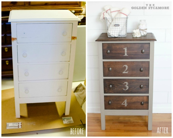 little vintage dresser before and after stained and painted with numbered drawers