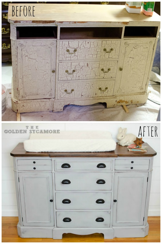 vintage dresser before and after painted gray with wood top