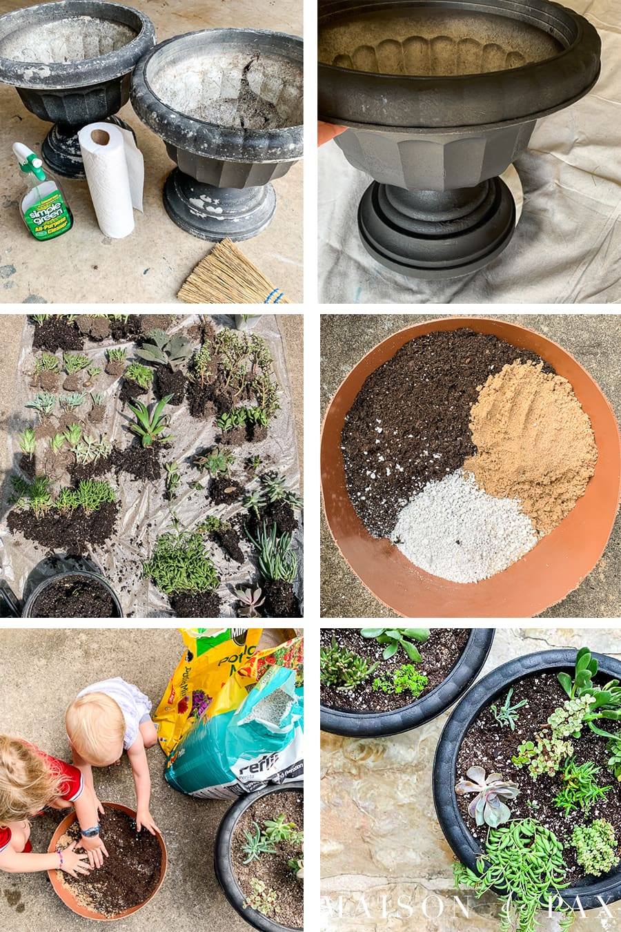 step by step tutorial for creating a DIY succulent container garden | Maison de Pax