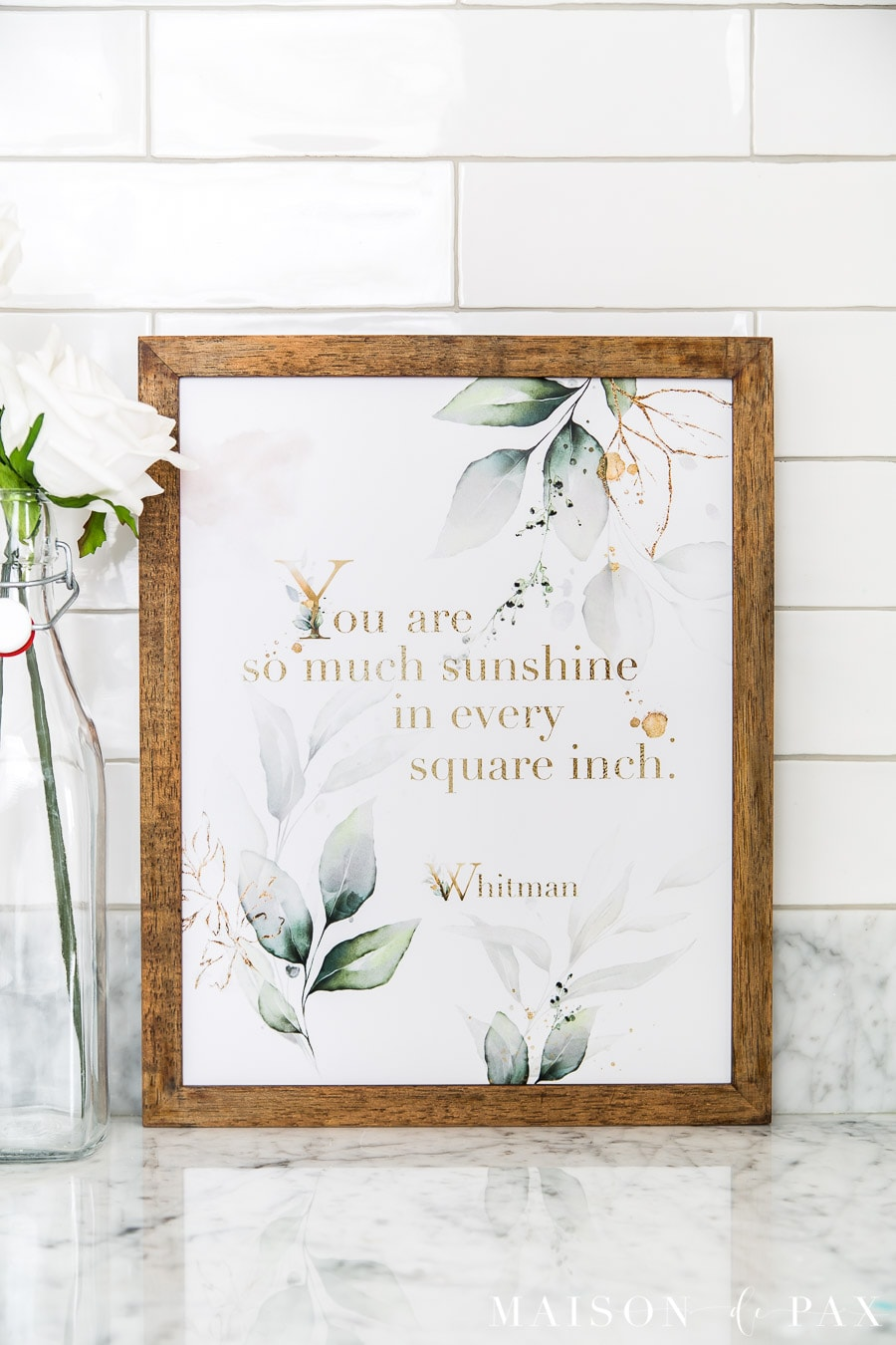 wooden frame with sunshine quote art featuring gold and green leaves | Maison de Pax