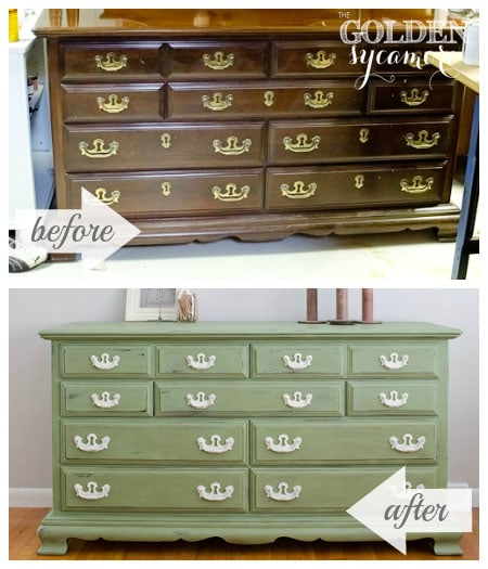 vintage dresser makeover before and after painted green