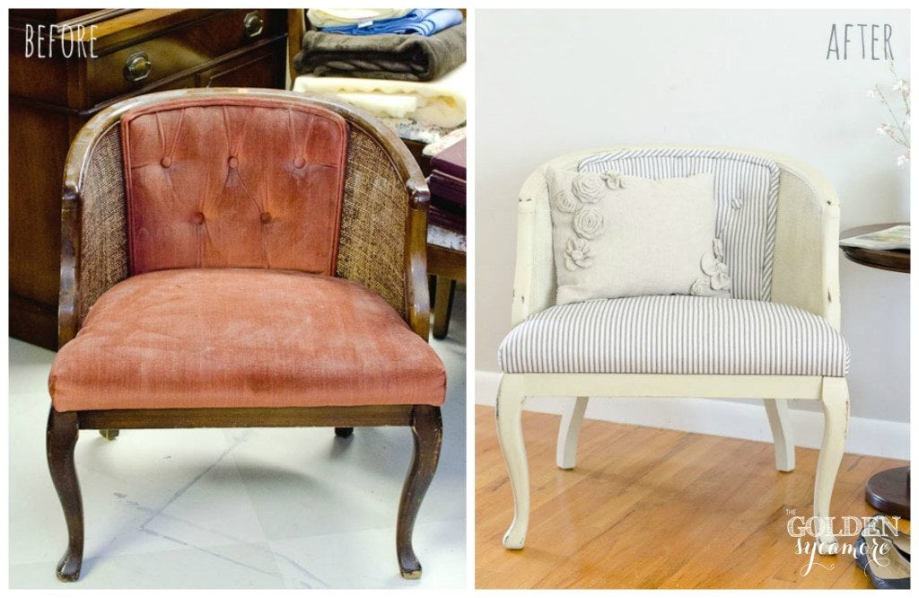 painted cane chair before and after