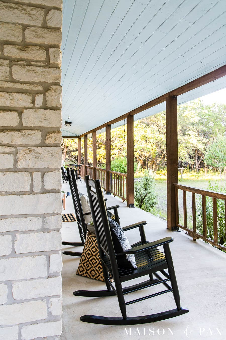 perfect viewing porch on a Texas ranch home done in a modern farmhouse style | Maison de Pax