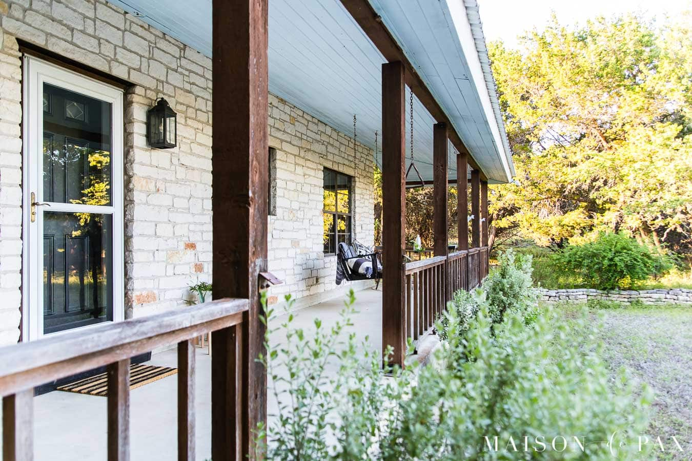 cedar posts and railings on porch with haint blue ceiling   Maison de Pax
