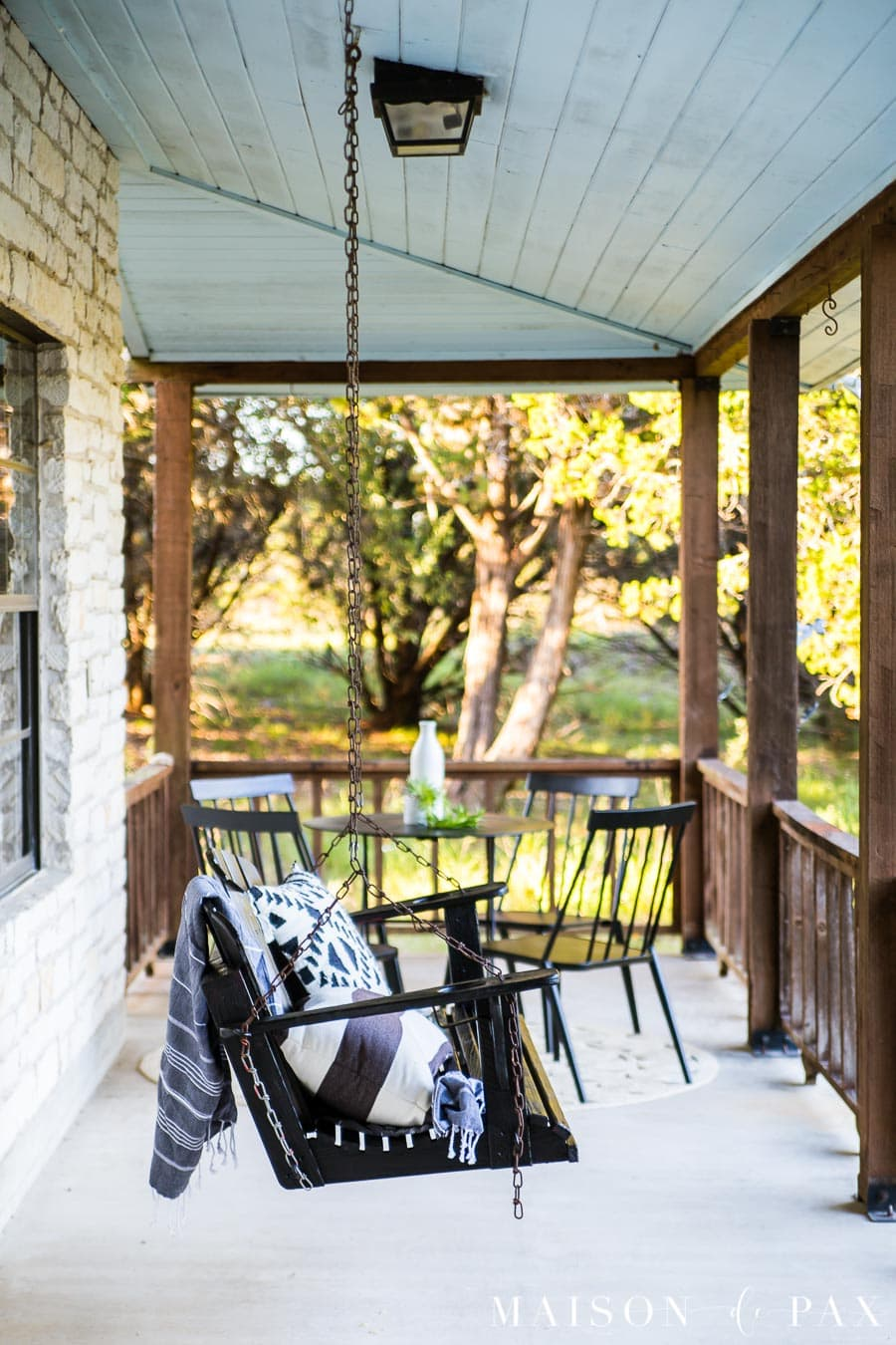 Texas hill country vacation home porch swing | Maison de Pax