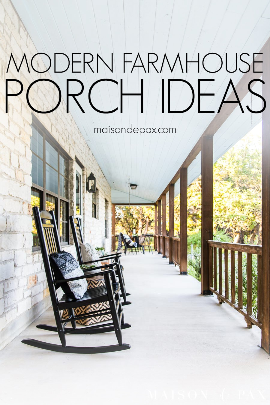 Long front porch with rocking chairs and cedar railing and text overlay: modern farmhouse porch ideas | Maison de Pax