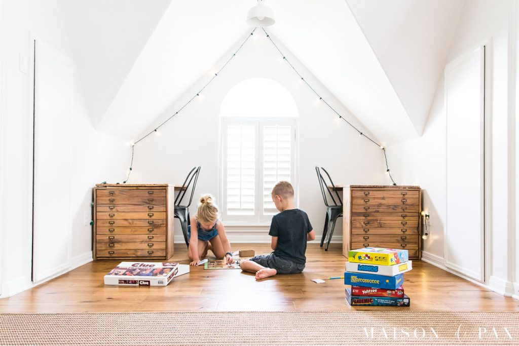 kids playing board games in desk nook | Maison de Pax