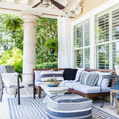 style patio with black and white and gray furniture and accents | Maison de Pax
