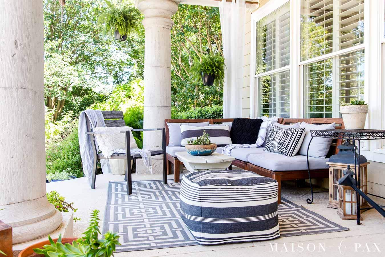 covered patio with white, gray, and black patterns | Maison de Pax