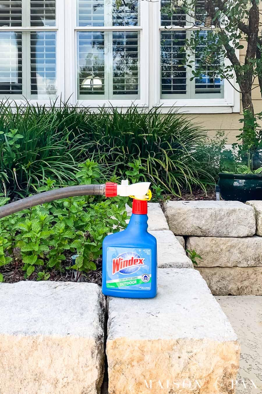 windows outdoor spray bottle attached to hose | Maison de Pax