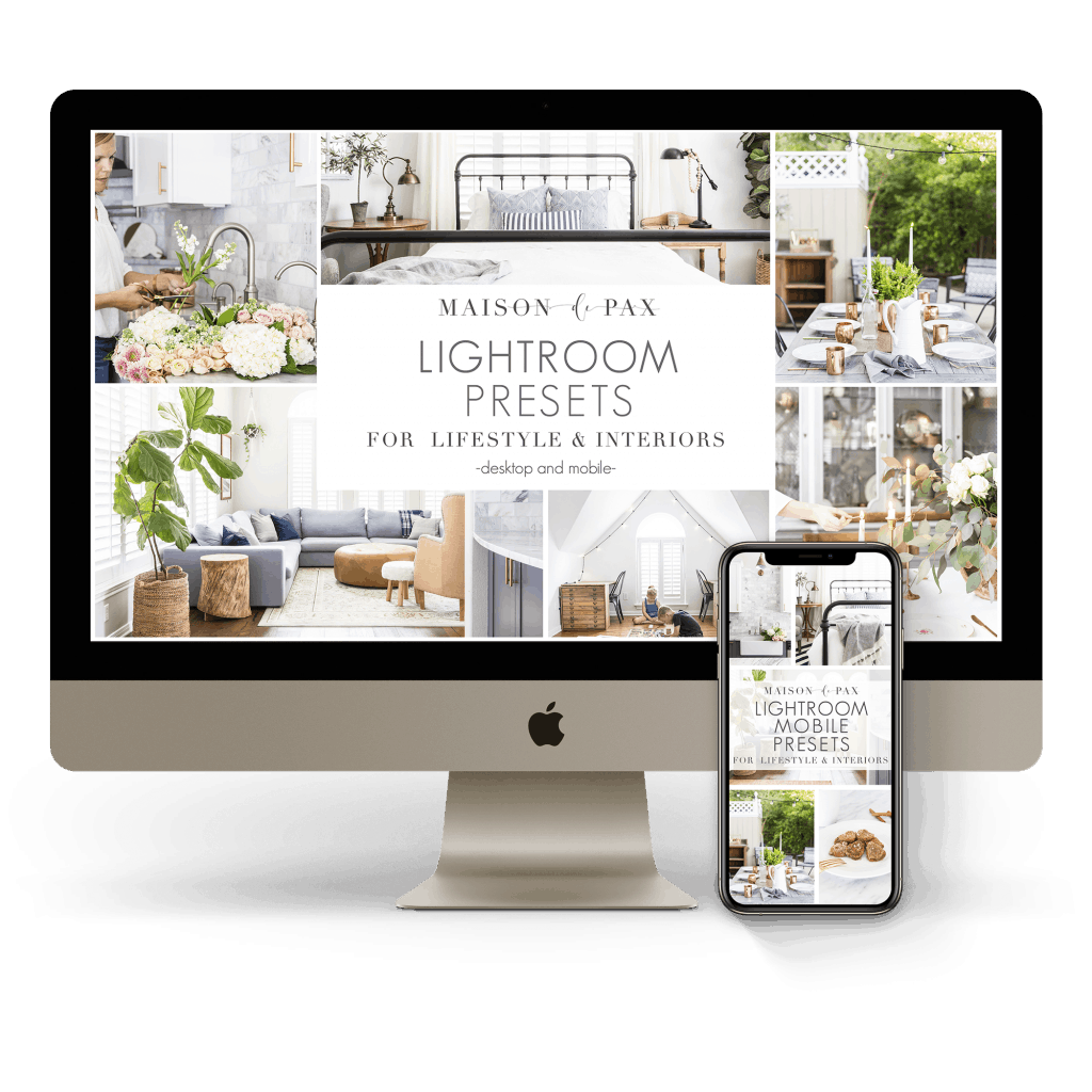 mac and iphone mock up revealing Lightroom Presets for lifestyle and interiors | Maison de Pax