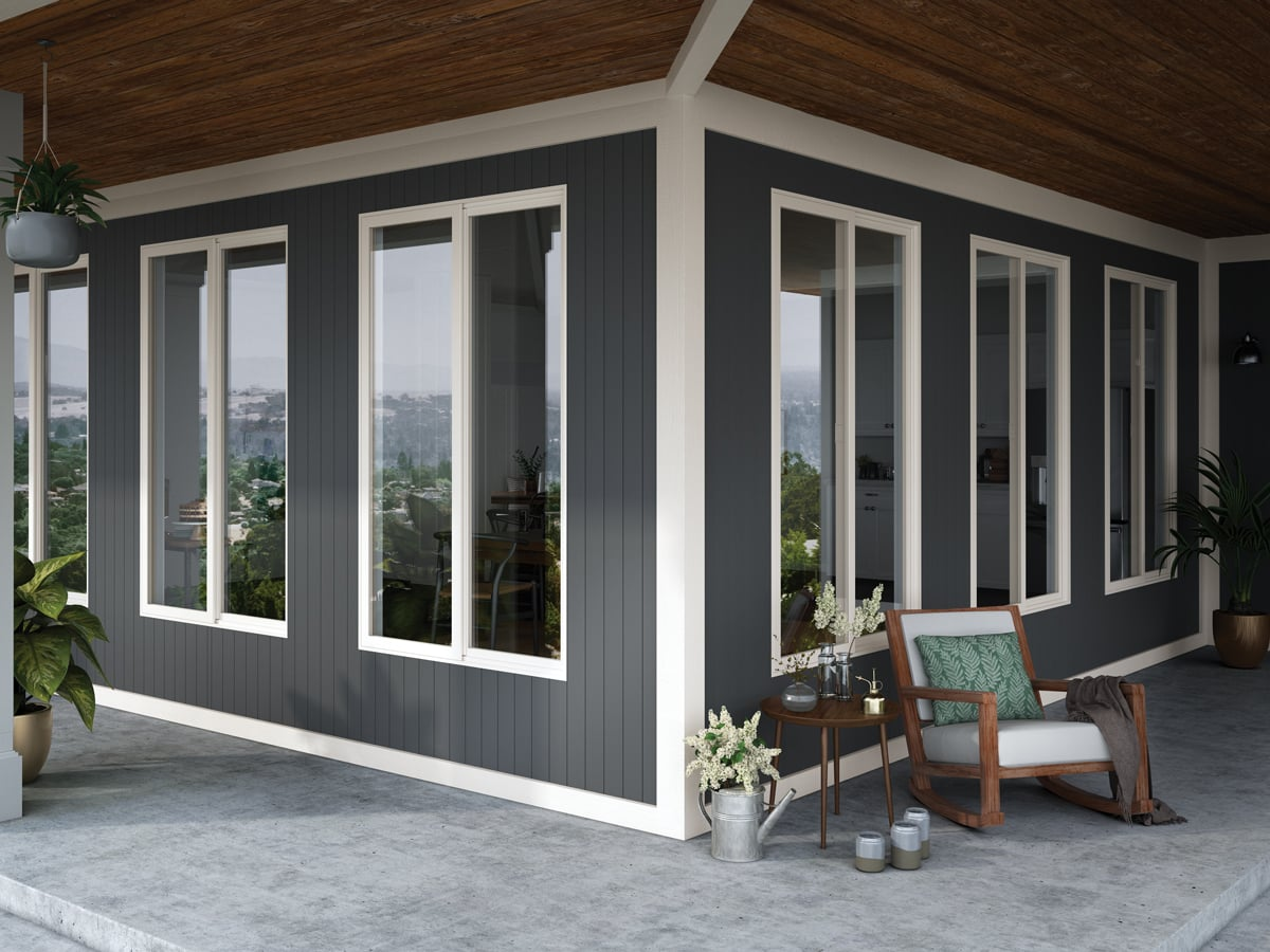 dark gray exterior siding with white trim and cedar porch ceiling | Maison de Pax