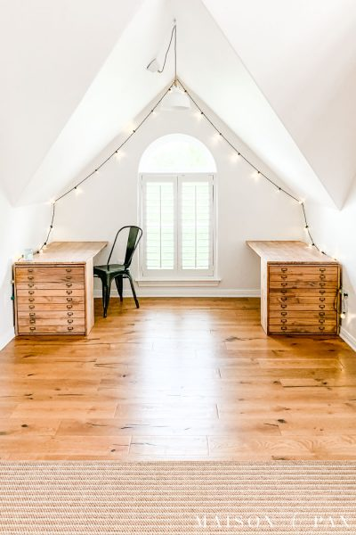 attic nook with simple wood desks | Maison de Pax