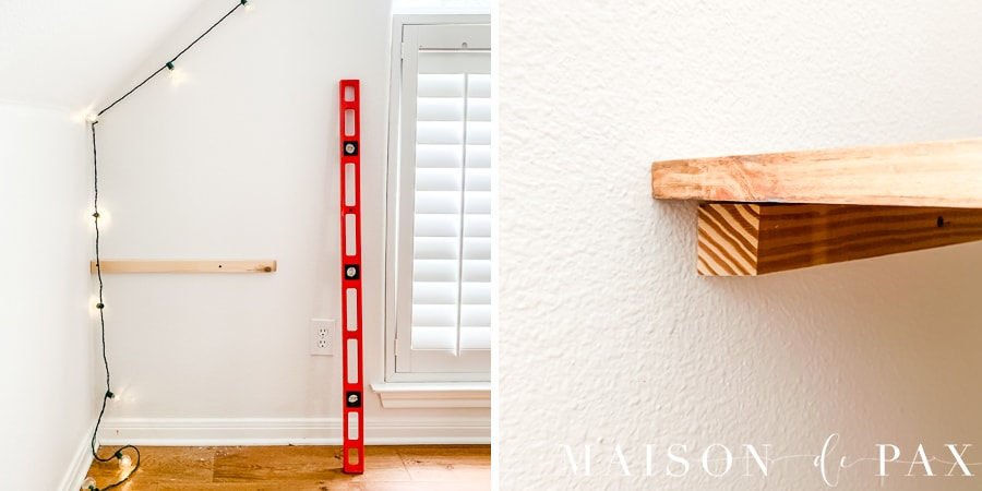 use level to attach cleat to wall to secure desk | Maison de Pax