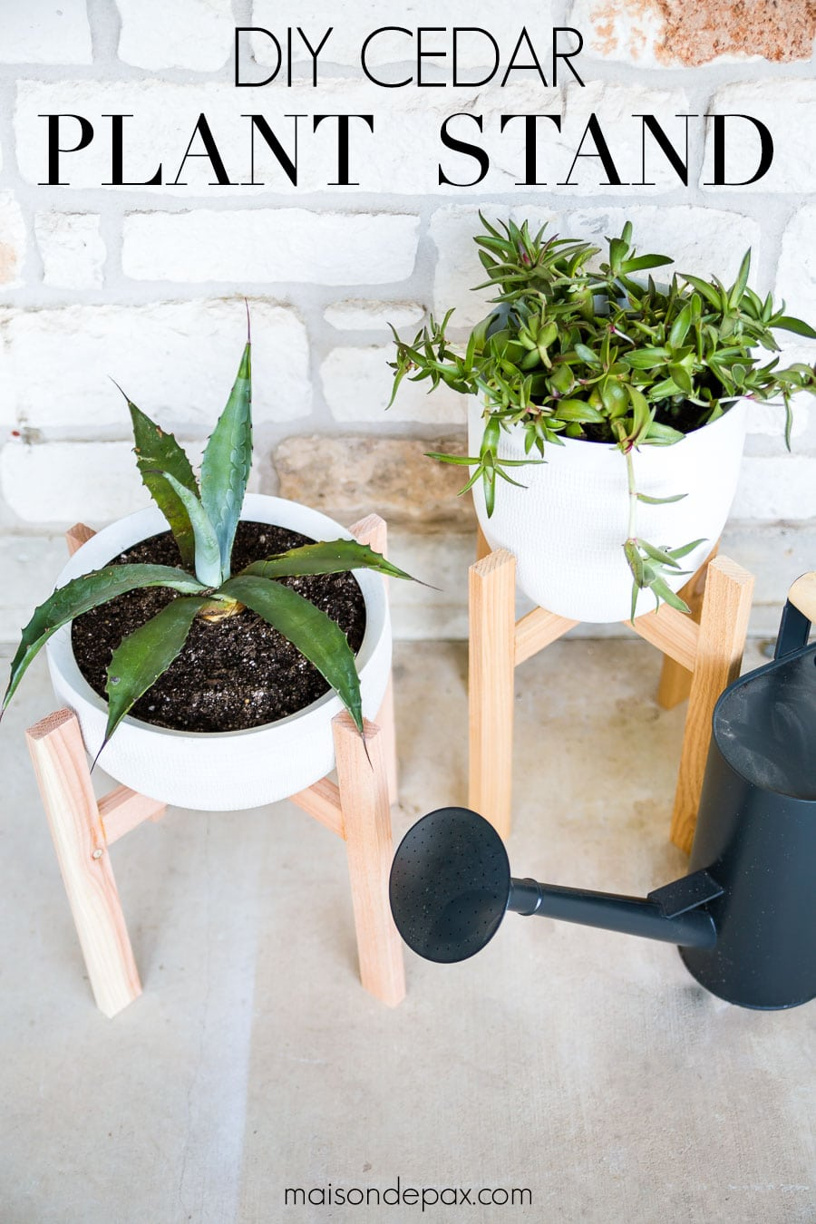 white pots with wood stands and text overlay: DIY cedar plant stand | Maison de Pax