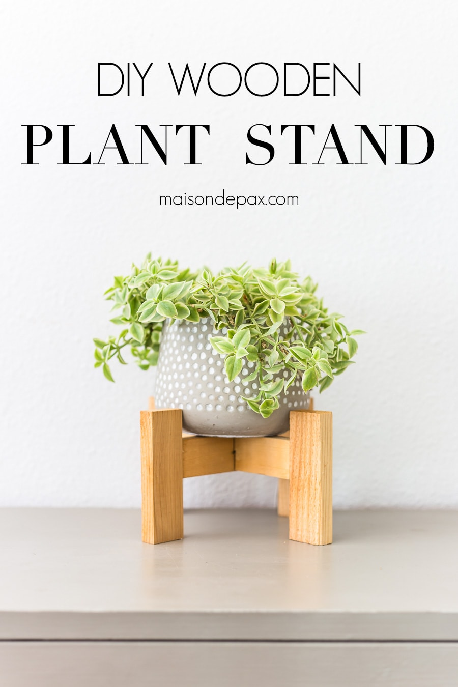 simple primitive modern wood plant stand for pot | Maison de Pax