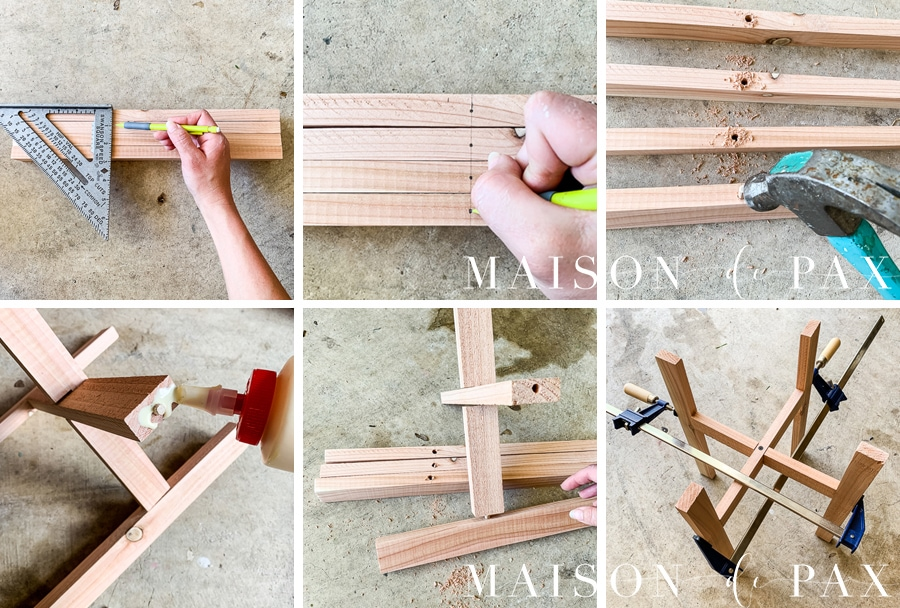 attach legs to base of cedar plant stand using dowel pins and wood glue