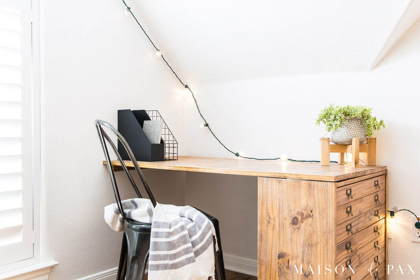 simple rustic wooden desk with dresser on one end | Maison de Pax